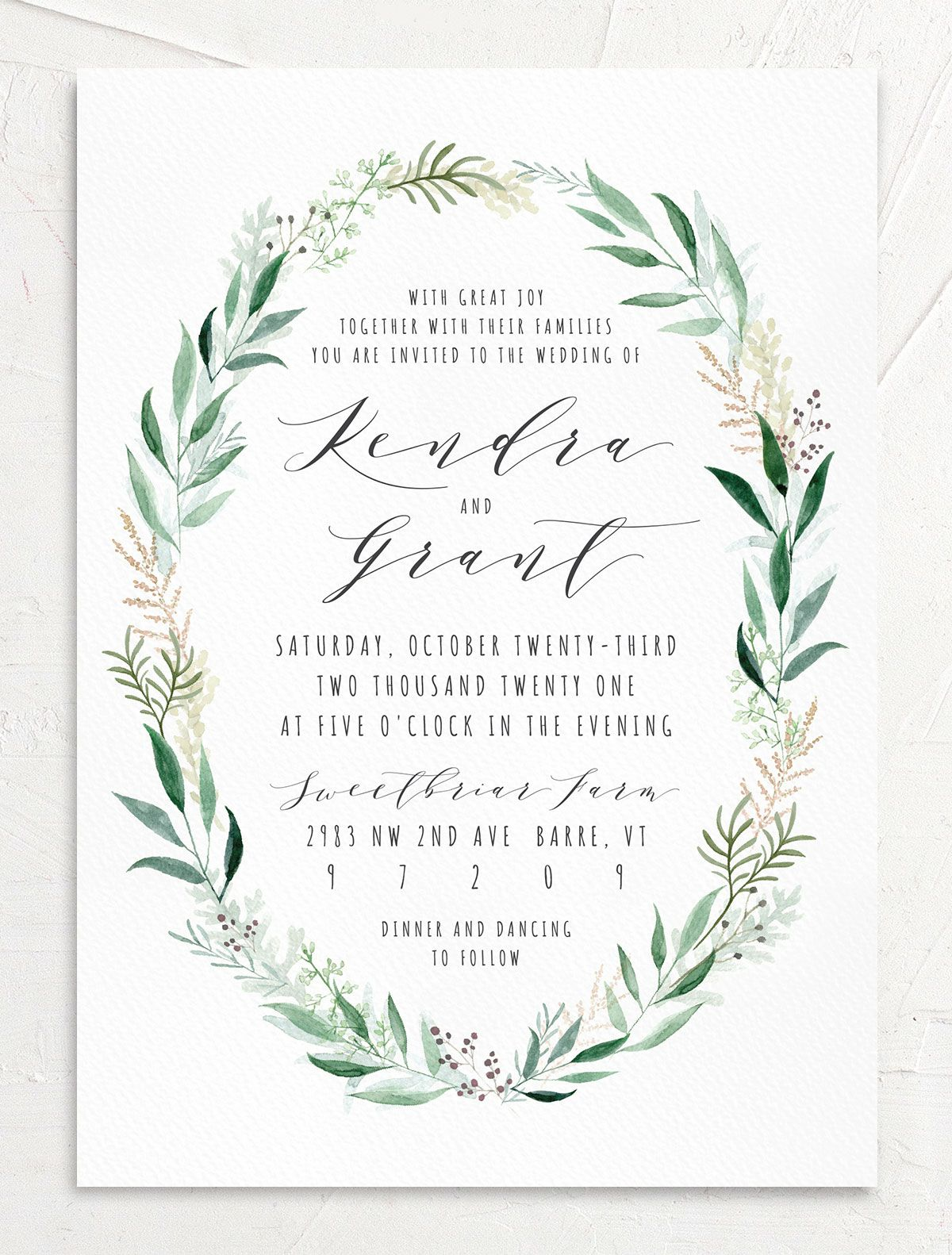 Rustic Wreath Wedding Invitation front