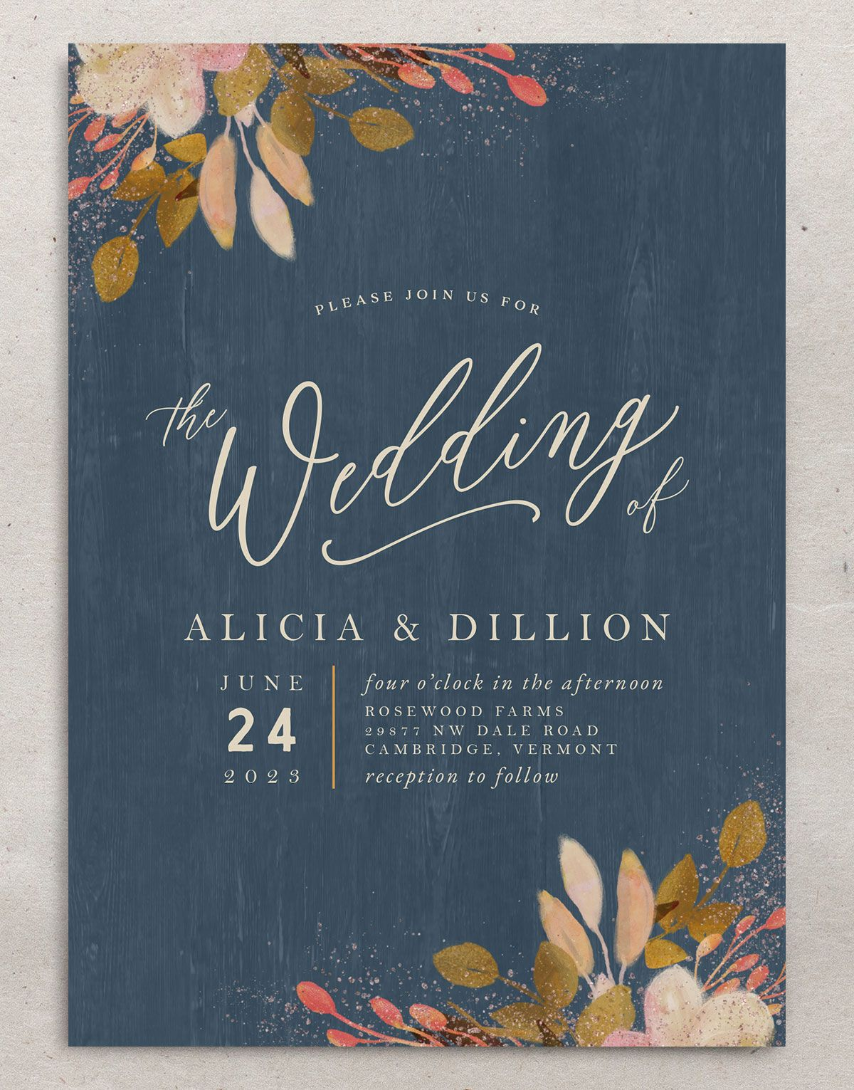 Rustic Leaves Wedding Invitation front