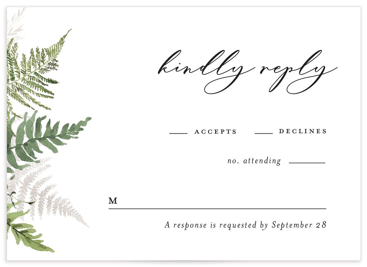 Woodsy Ferns RSVP card front light green