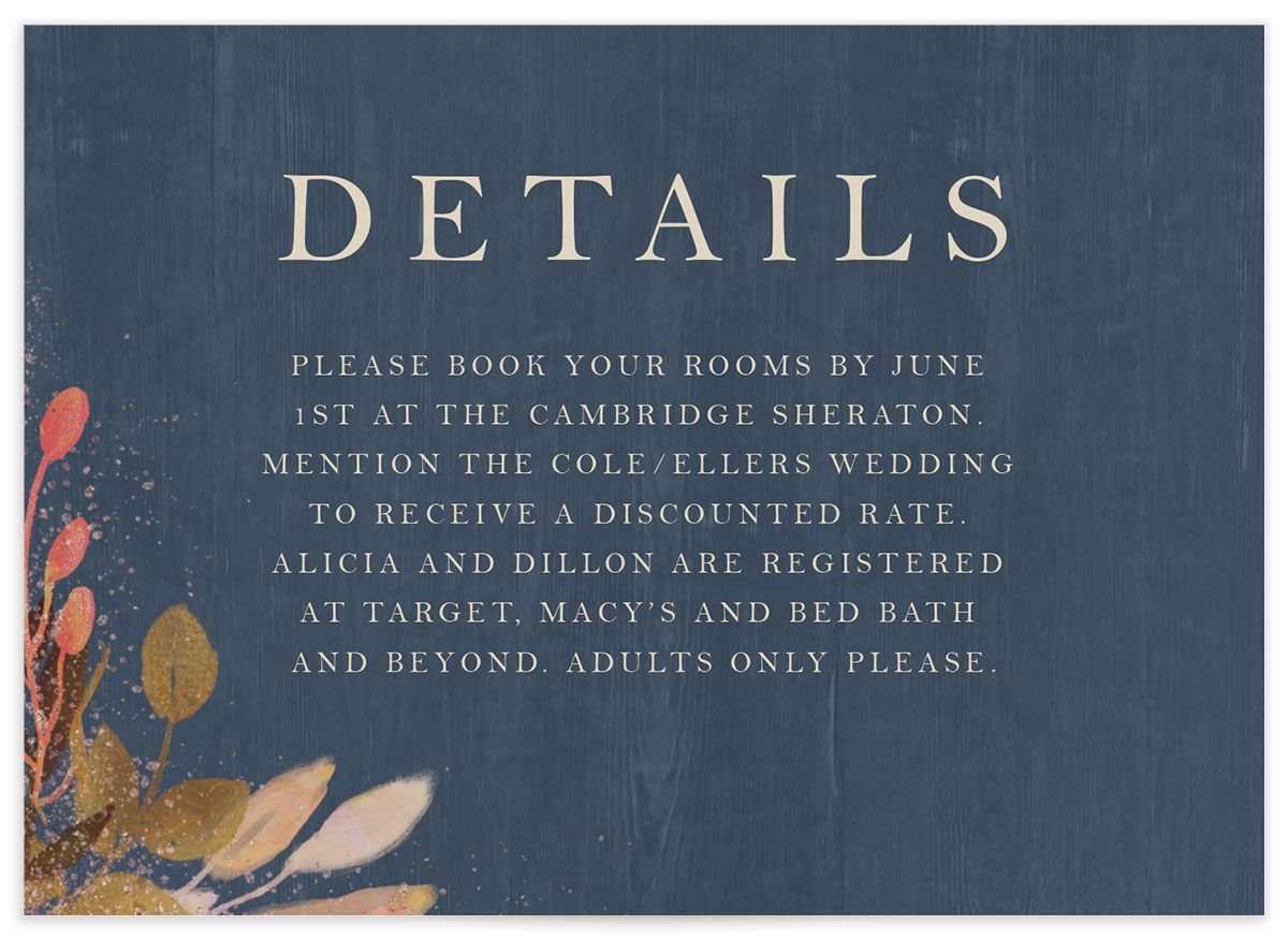 Rustic Leaves Wedding Enclosure Card front