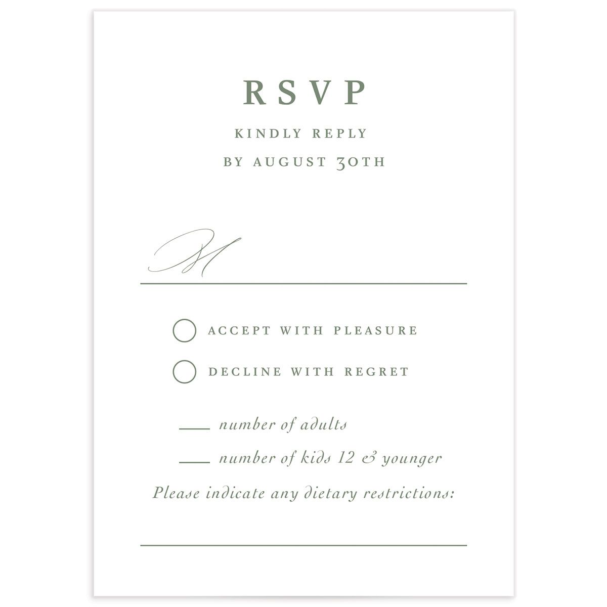 Classic Landscape Wedding Response Card front green