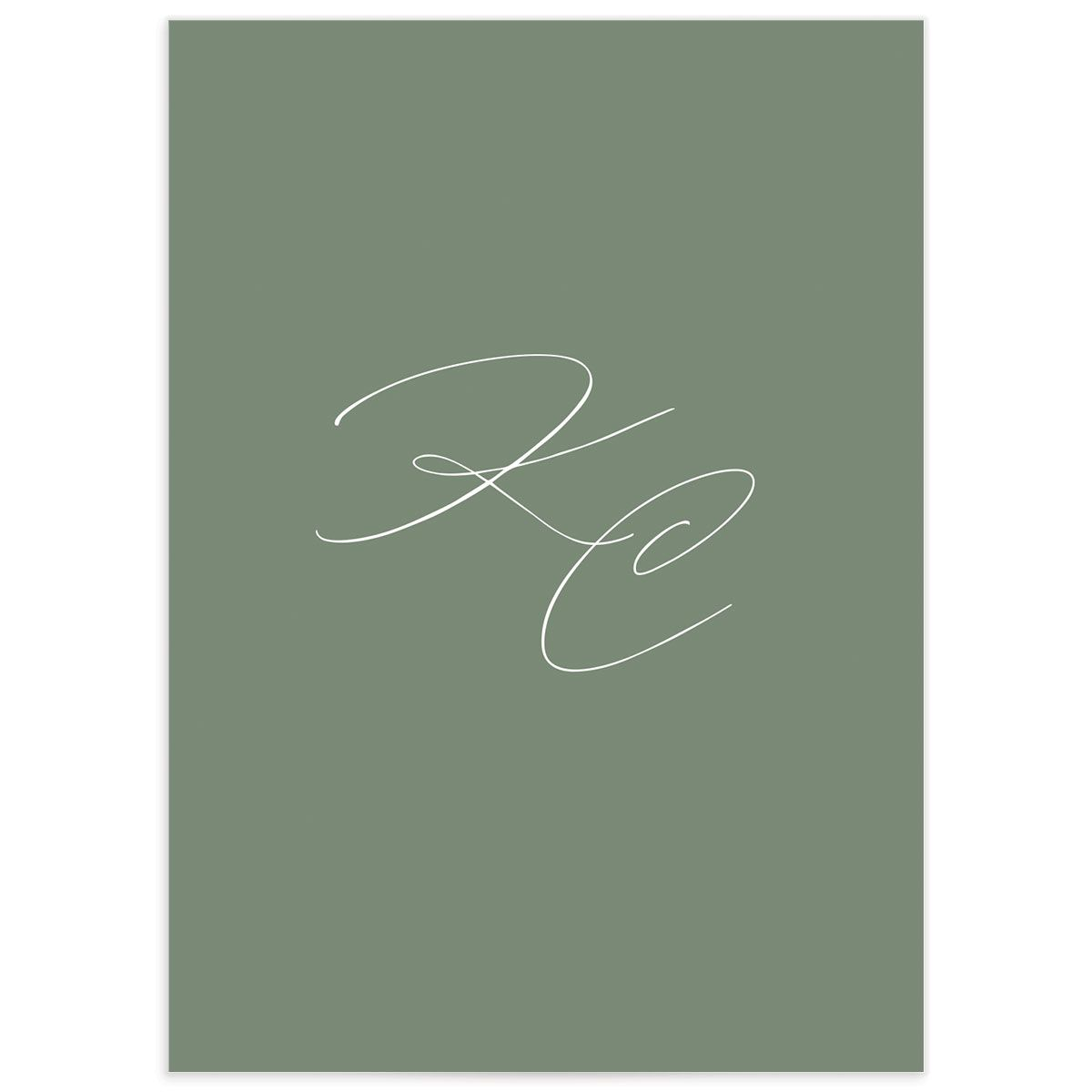 Classic Landscape Wedding Response Card back green