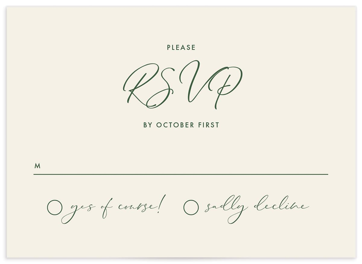Calligraphic Botanical Wedding Response Card front cream