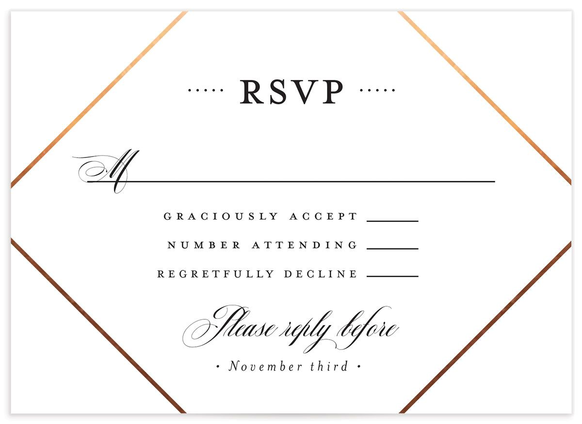 Formal Ampersand Wedding Response Card front black