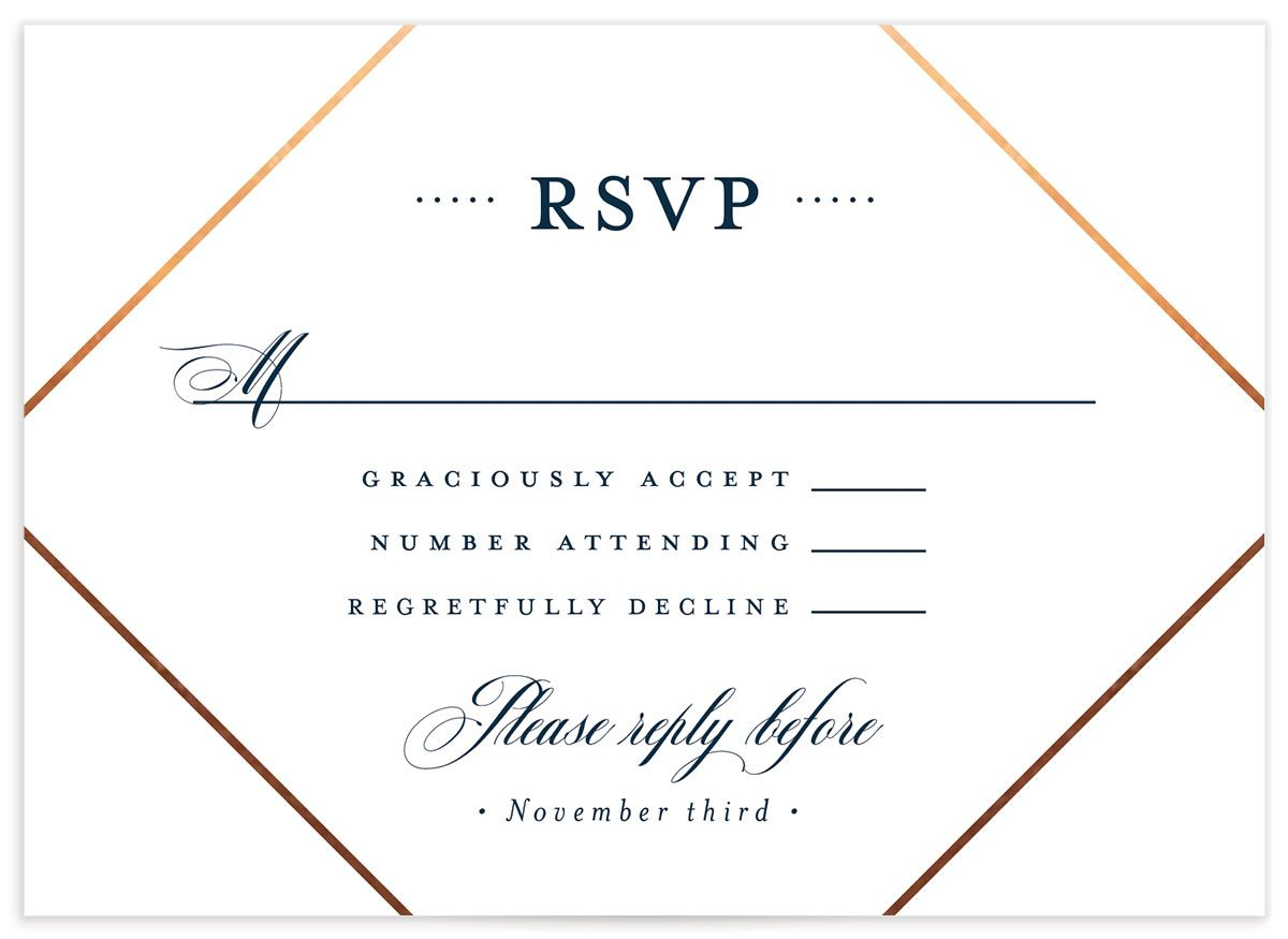 Formal Ampersand Wedding Response Card front blue