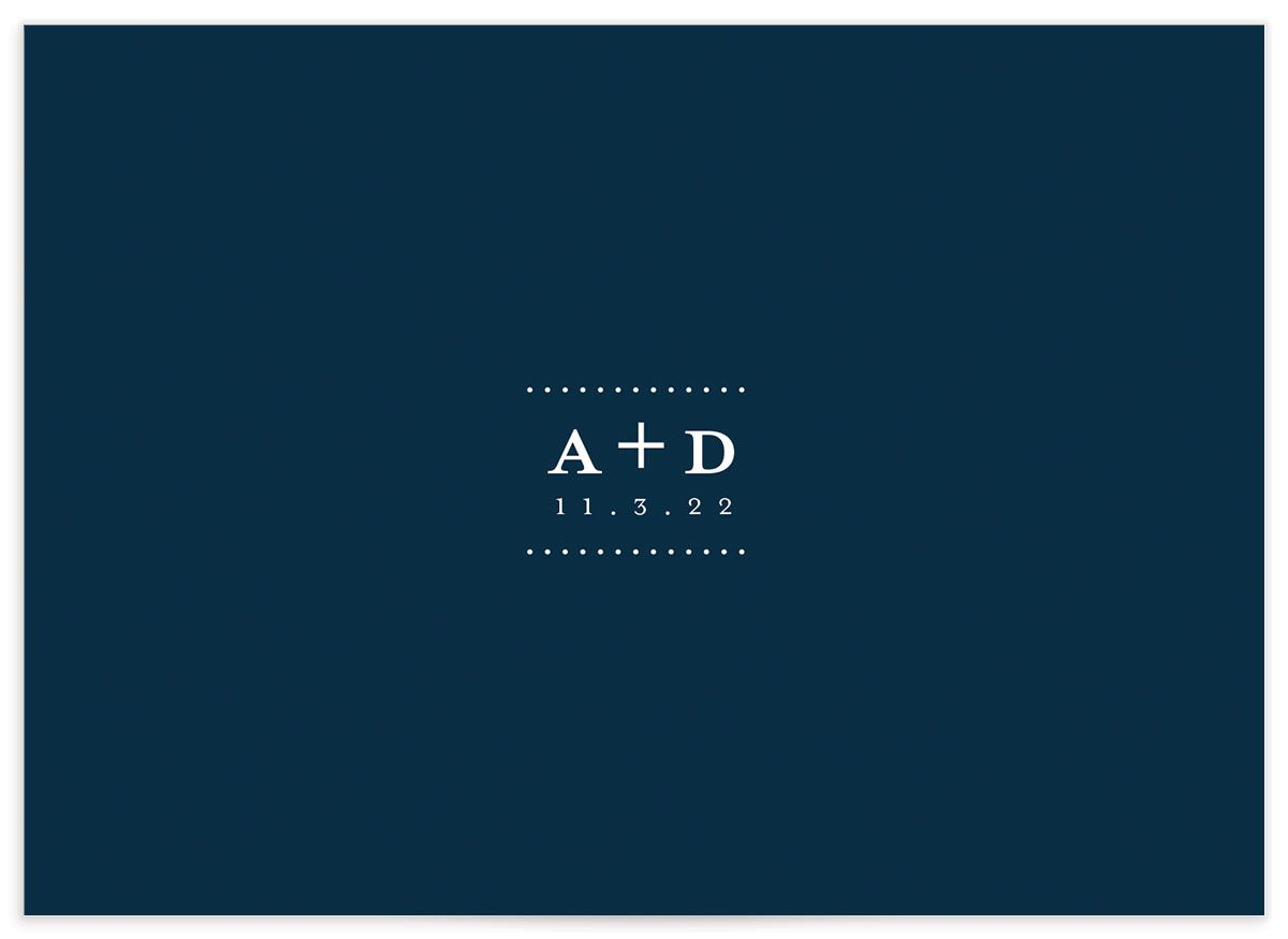 Formal Ampersand Wedding Response Card back blue