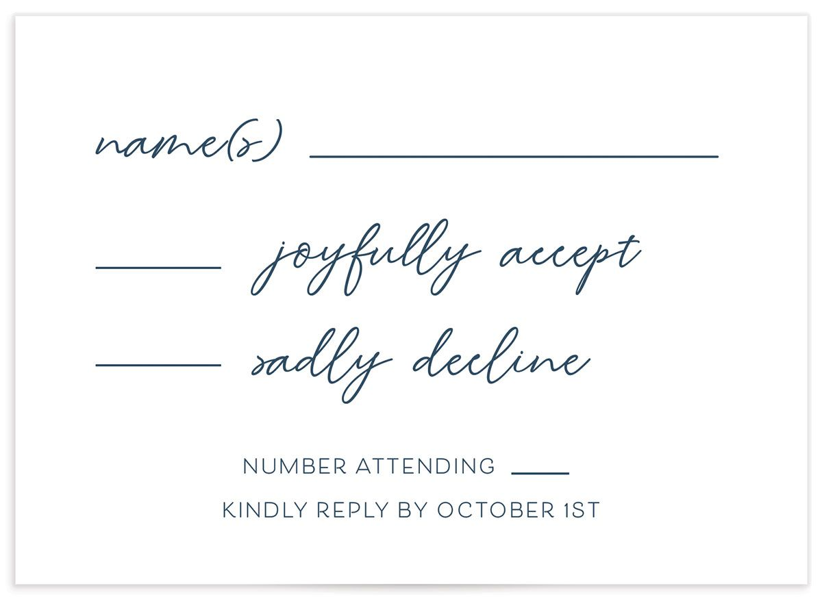 Gold Calligraphy Wedding Response Card front blue