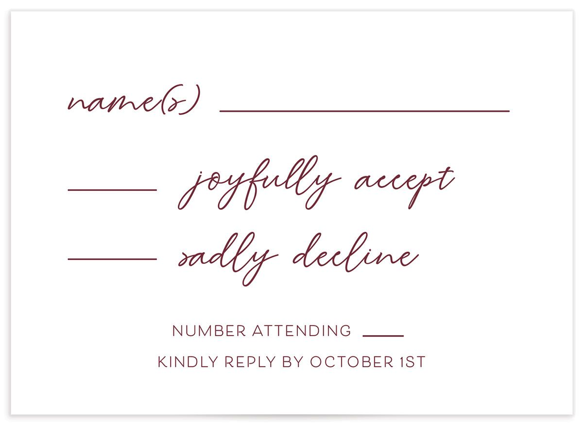 Gold Calligraphy Wedding Response Card front red