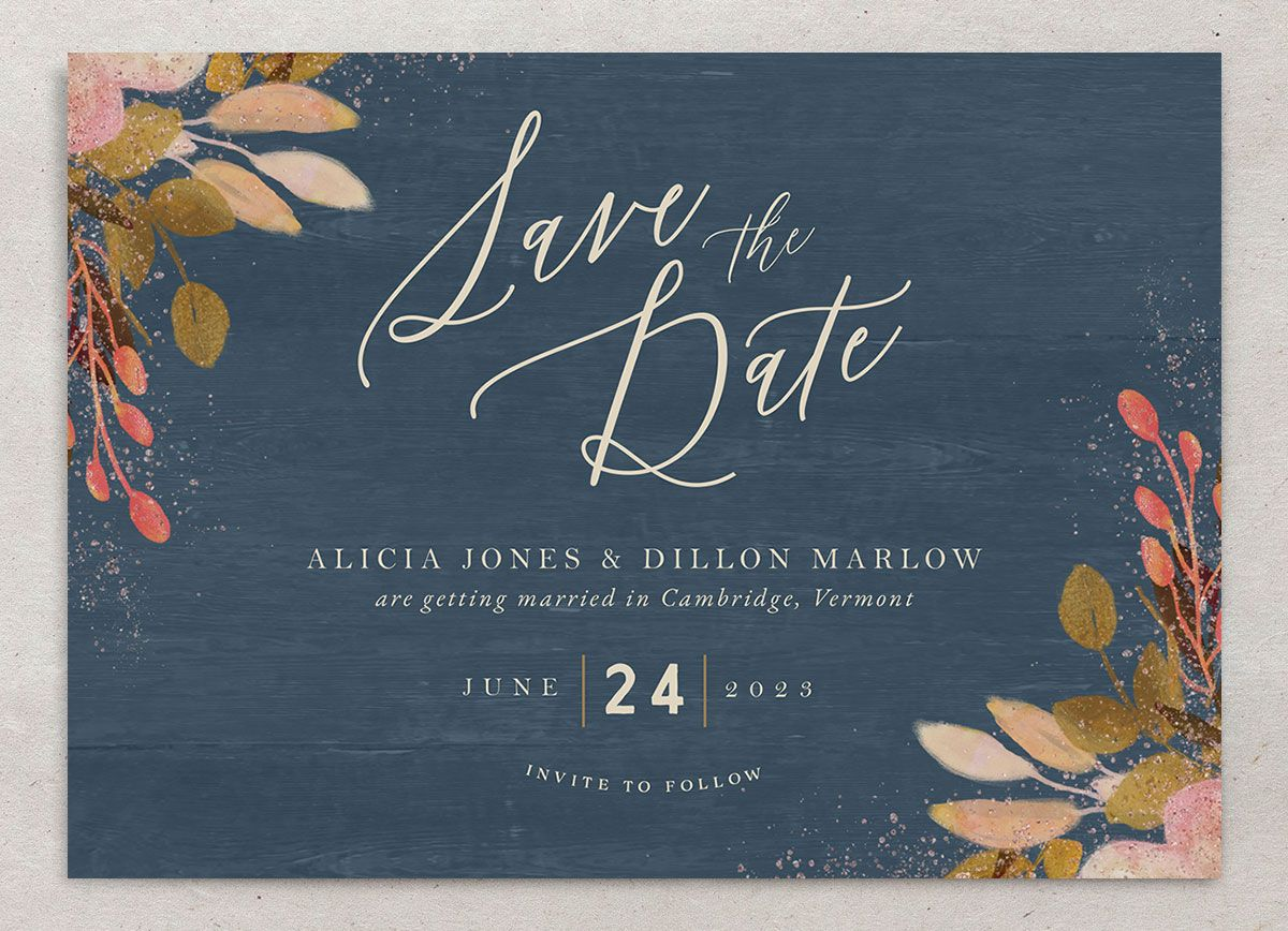 Rustic Leaves Wedding Save the Date front