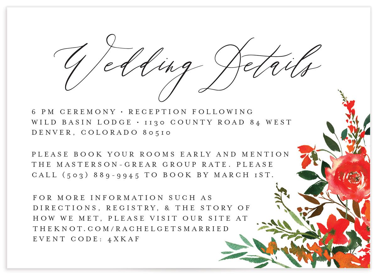 Cascading Altar Wedding Enclosure Card front orange