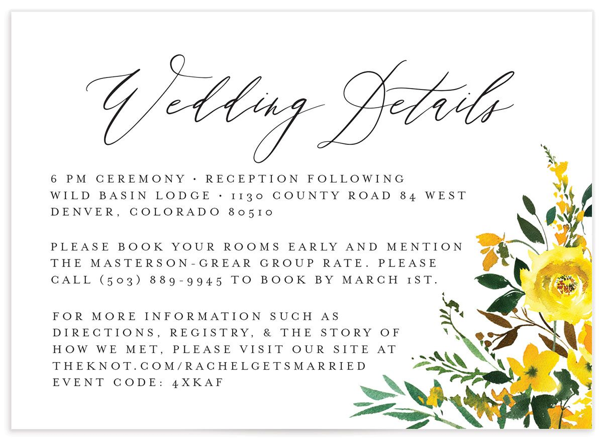 Cascading Altar Wedding Enclosure Card front yellow