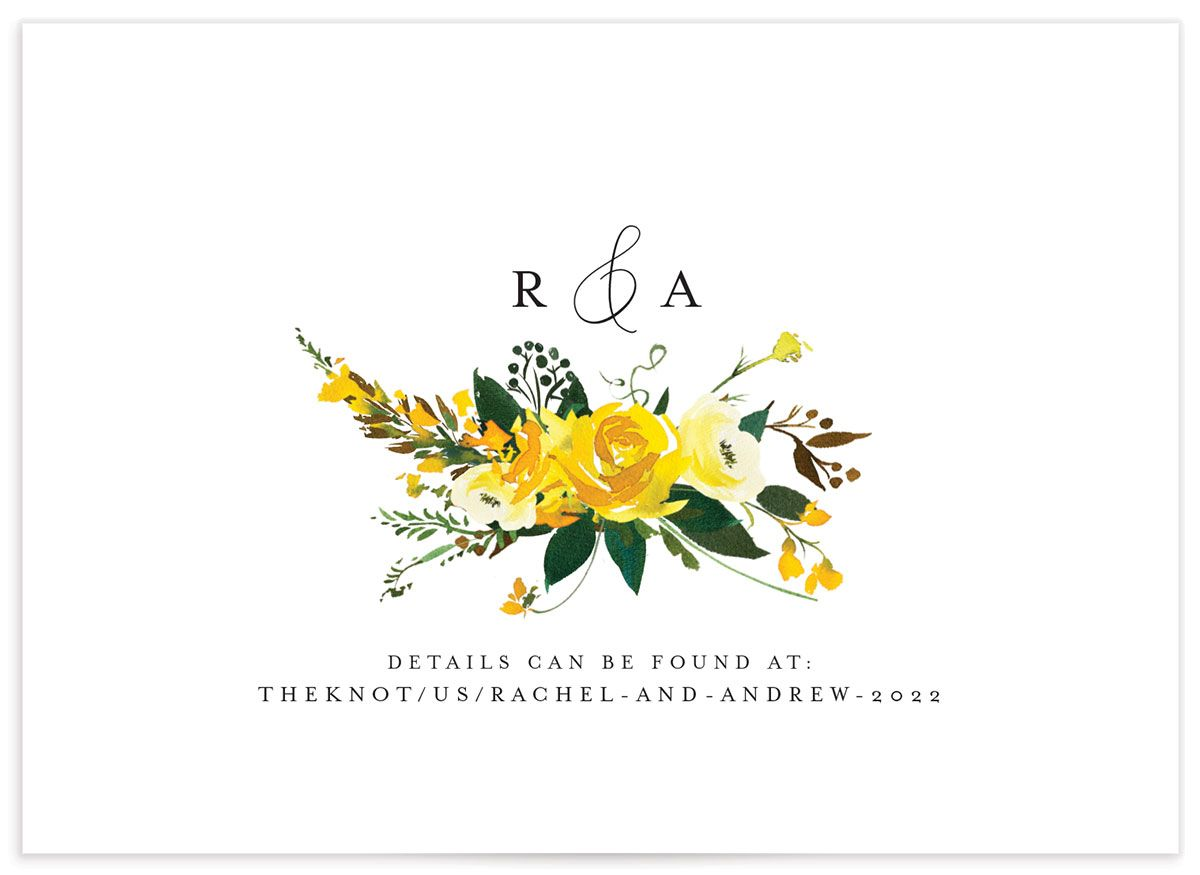 Cascading Altar Wedding Enclosure Card back yellow