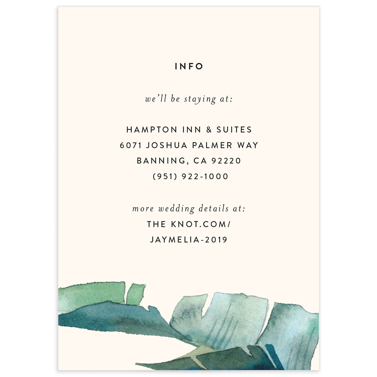Palm and Protea Wedding Enclosure Card front
