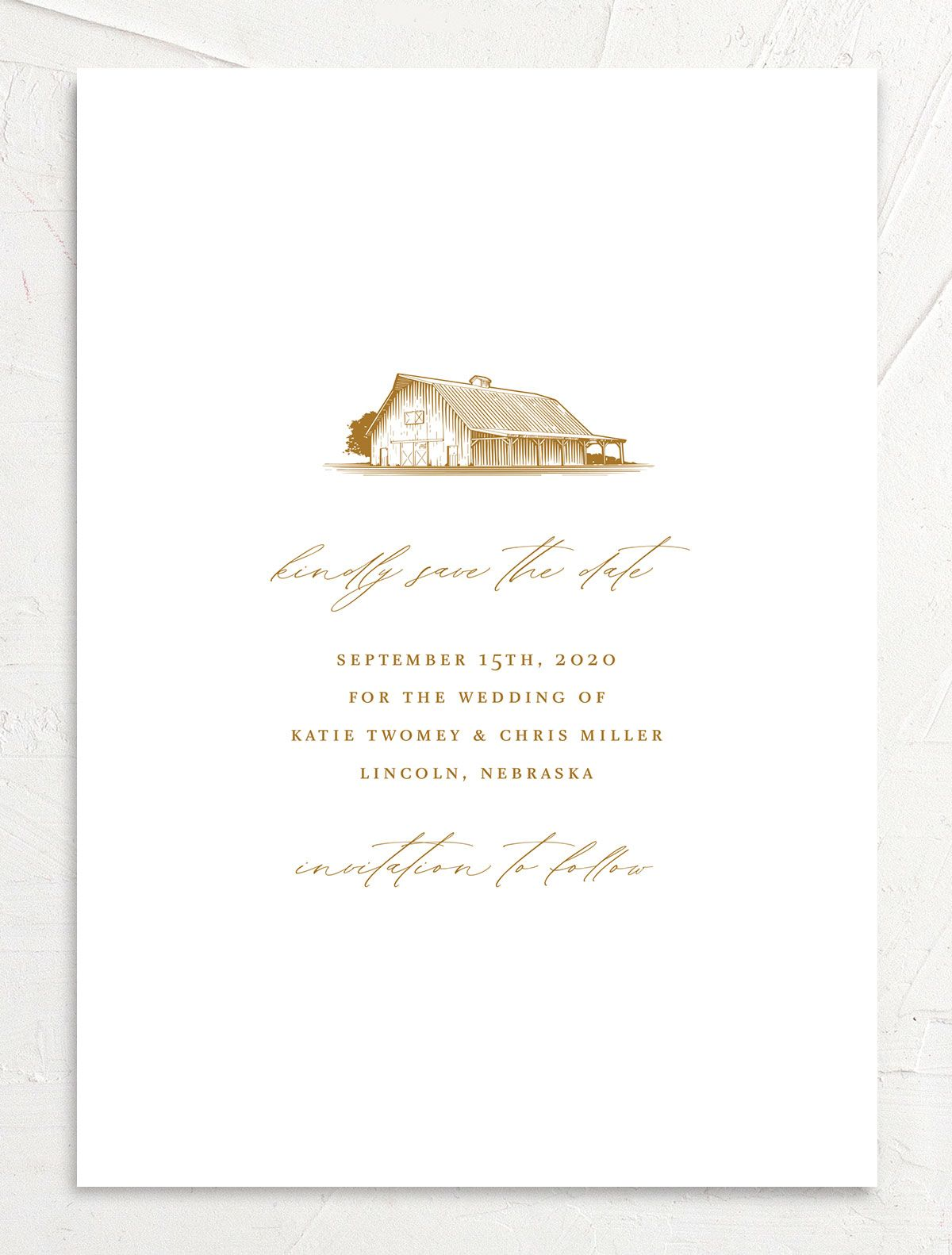 Classic Landscape Save the Date Card front mustard