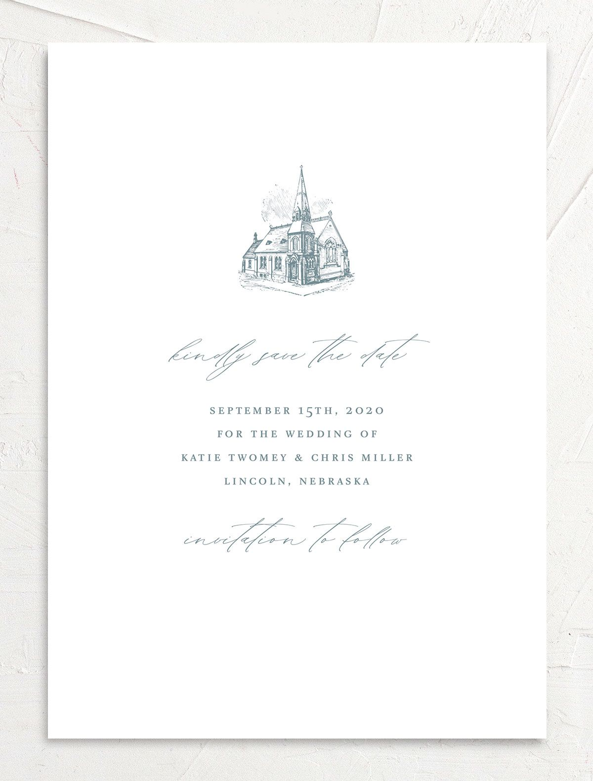 Classic Landscape Save the Date Card front blue