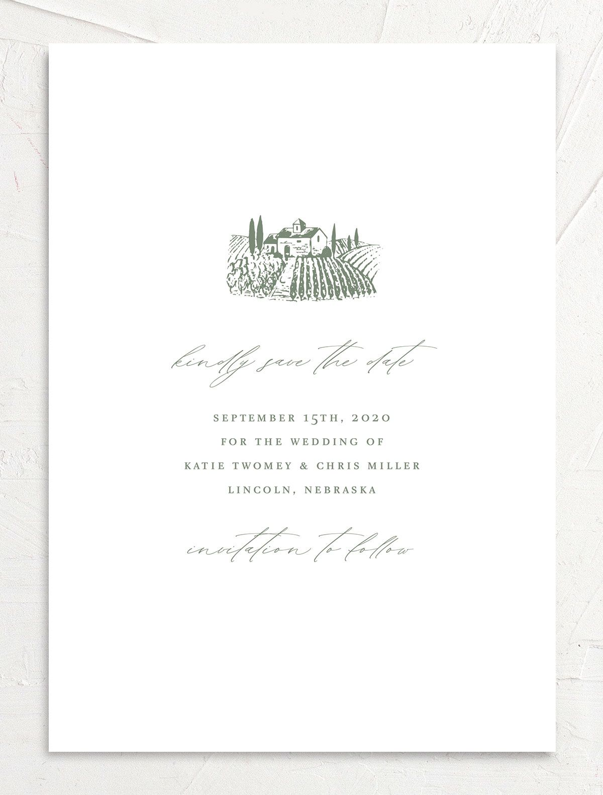 Classic Landscape Save the Date Card front green