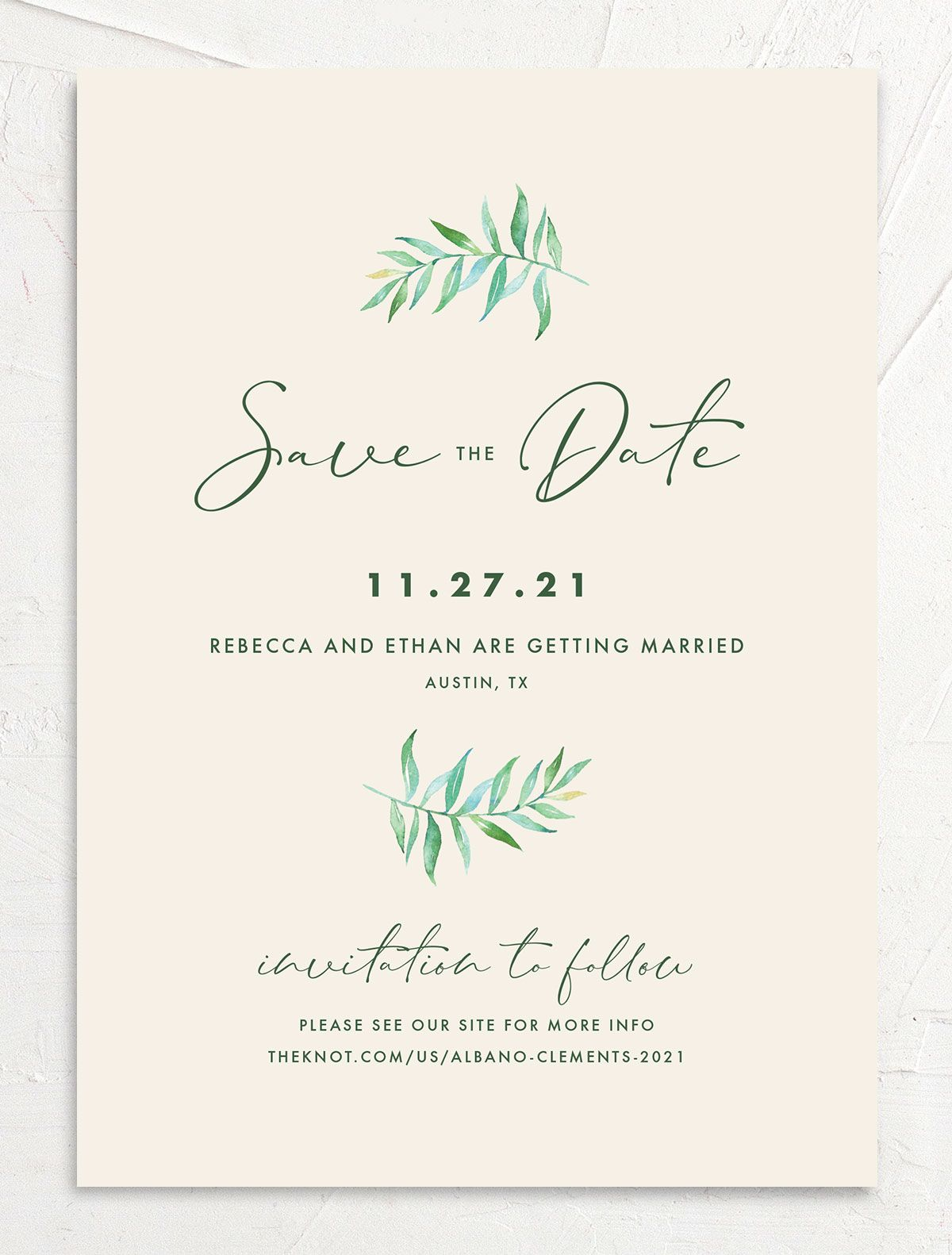 Calligraphic Botanical Save the Date front cream