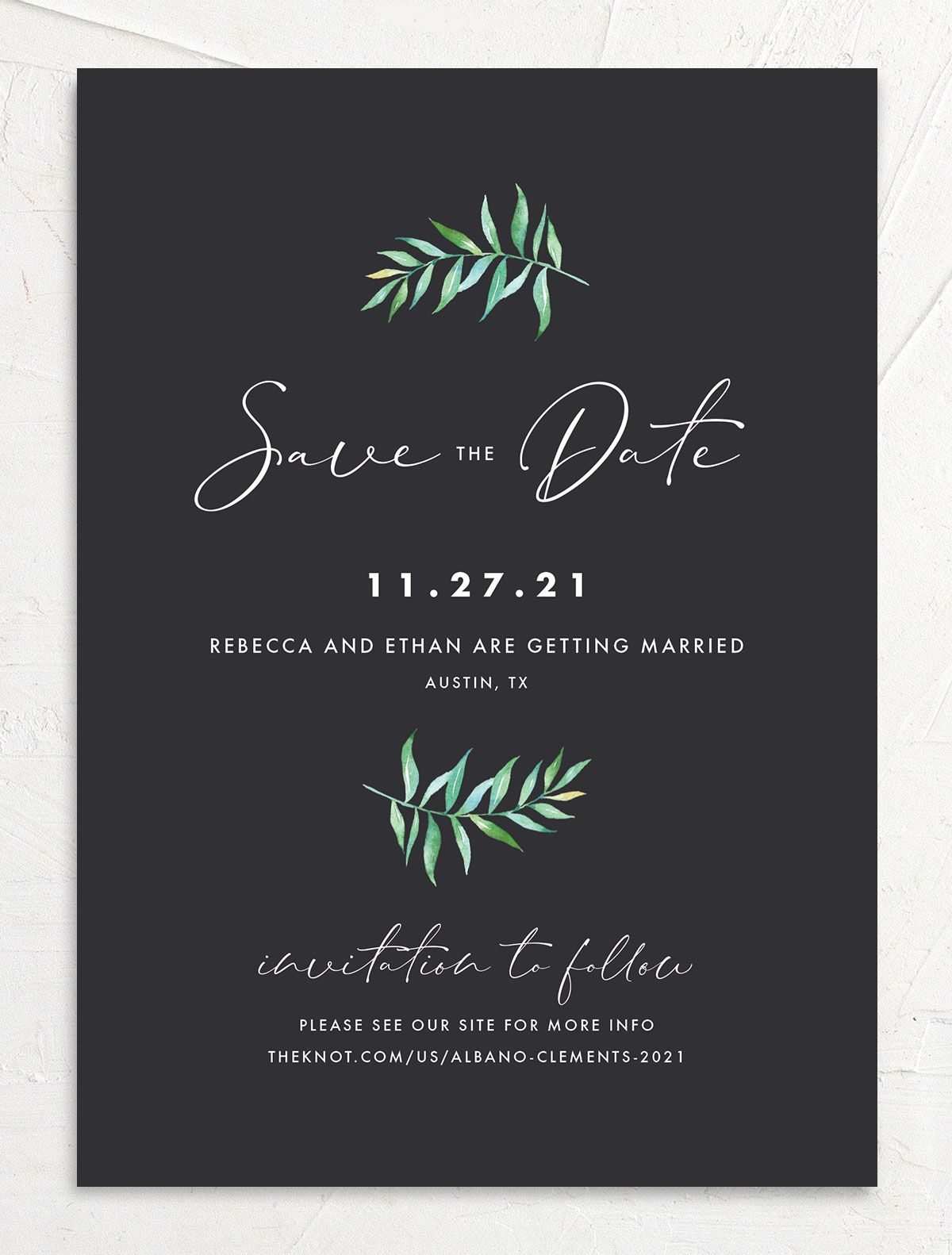 Calligraphic Botanical Save the Date front grey