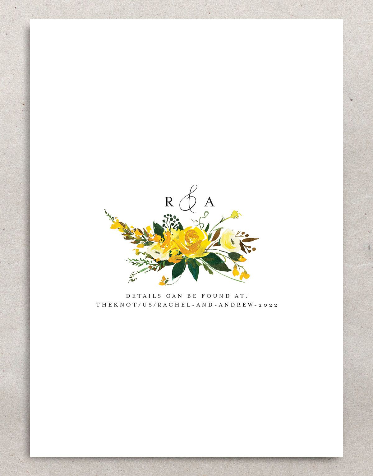 Cascading Altar Wedding Save the Date Card back yellow