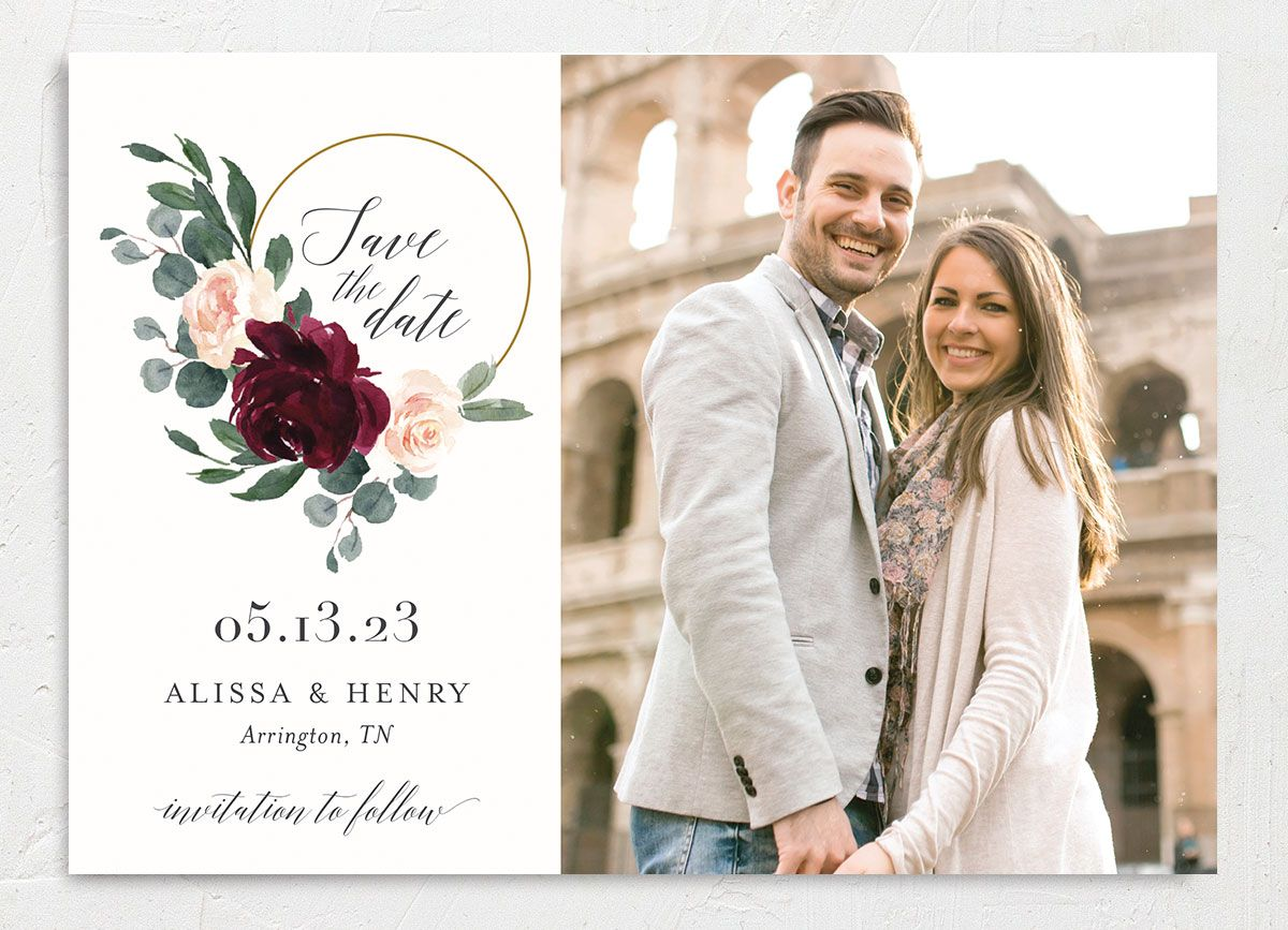Floral Hoop Wedding Save the Date card Front red