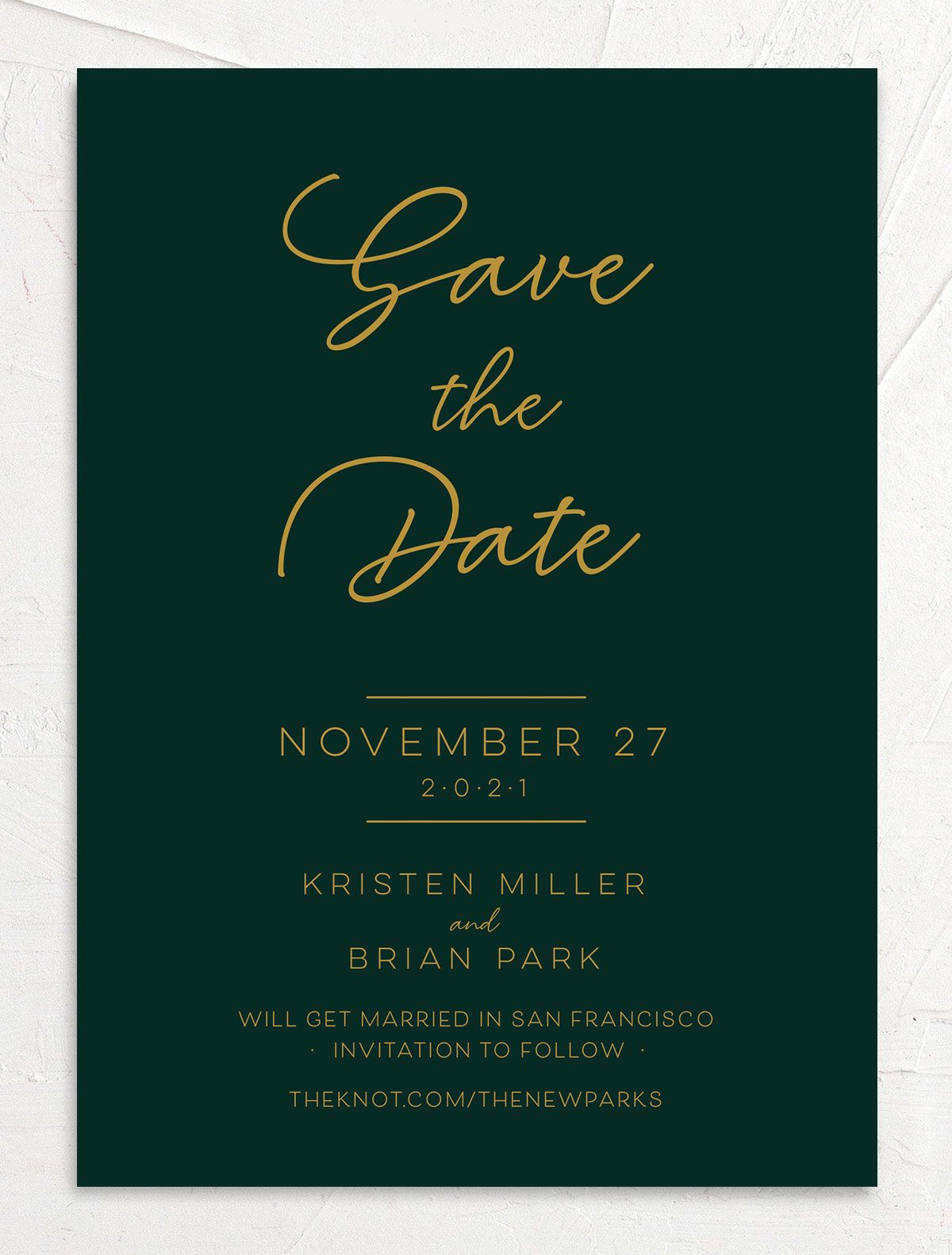Gold Calligraphy Save the Date Card front green
