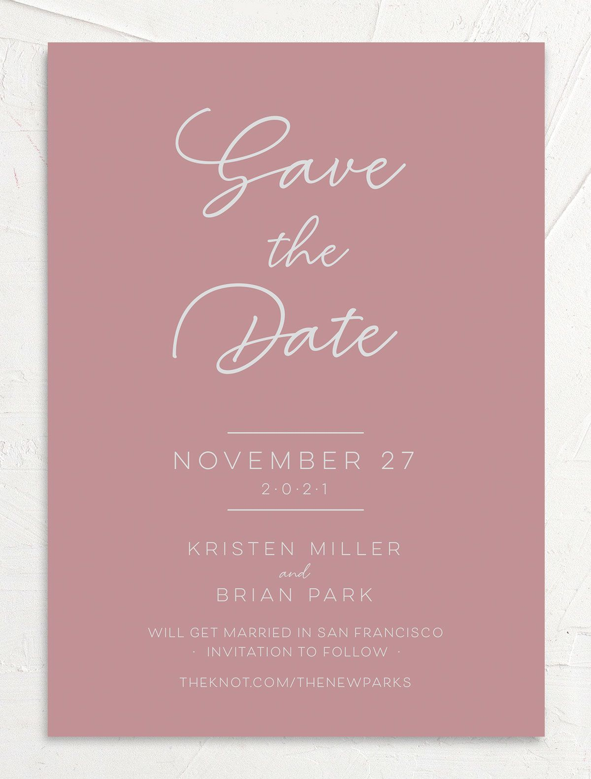 Gold Calligraphy Save the Date Card front pink