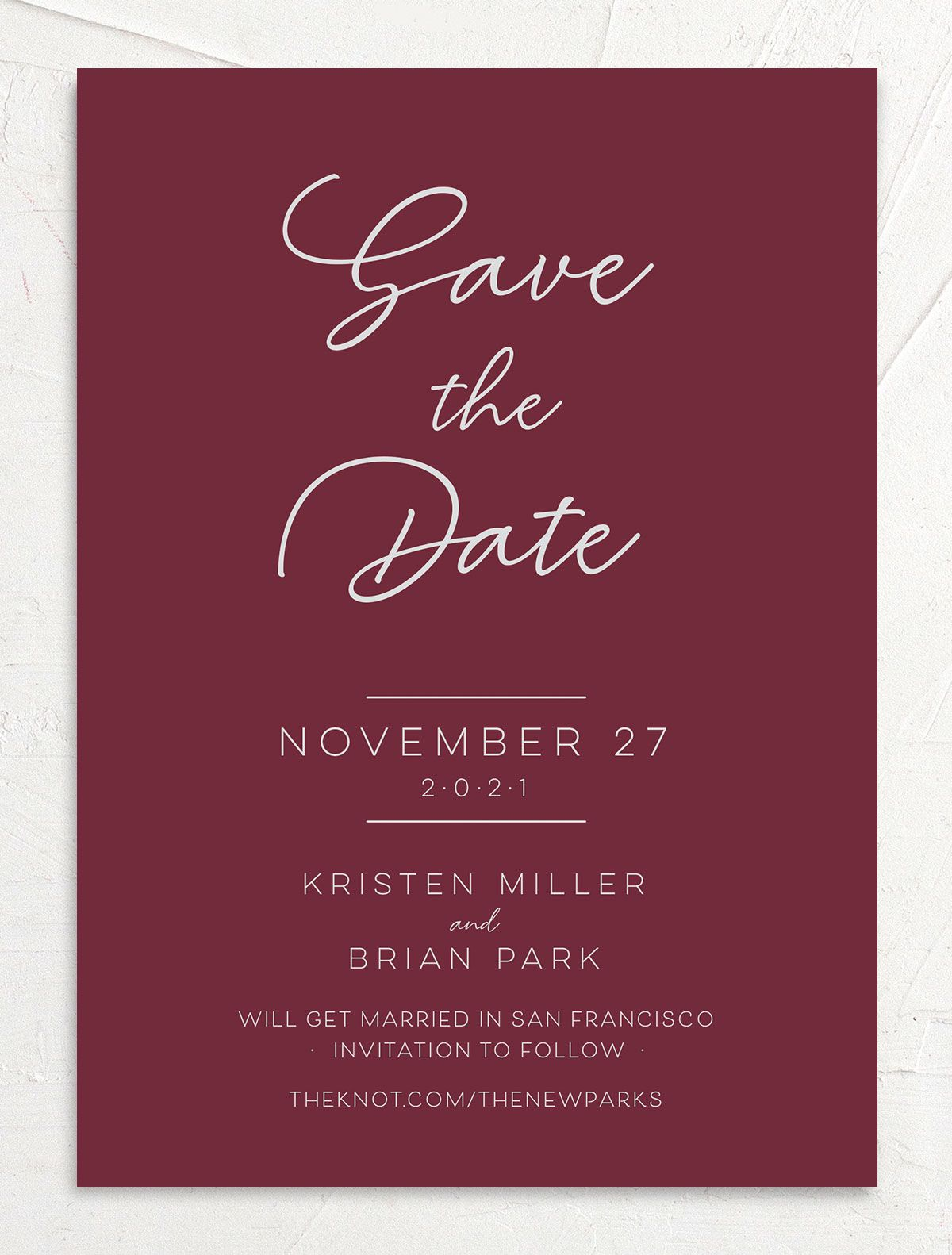Gold Calligraphy Save the Date Card front red
