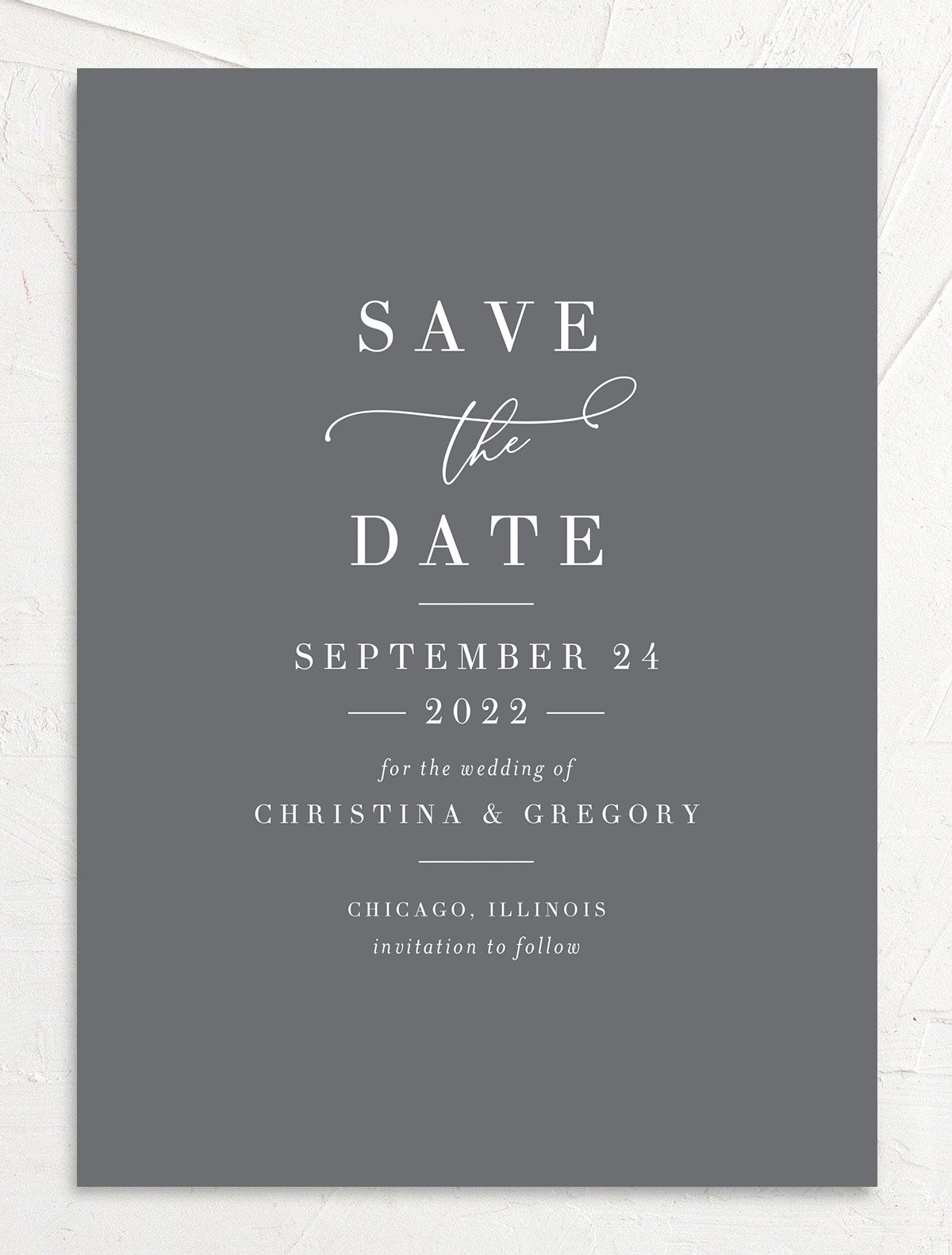 Romantic Calligraphy Save the Date Card front grey