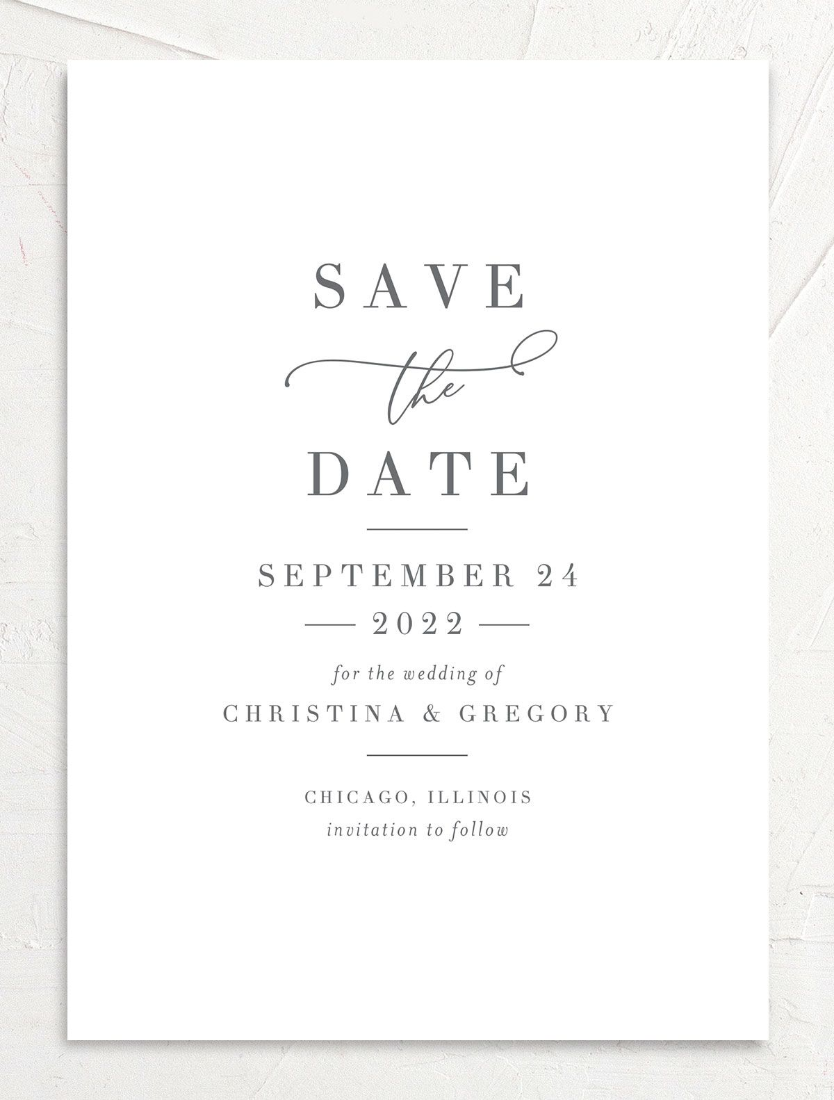 Romantic Calligraphy Save the Date Card front mulberry