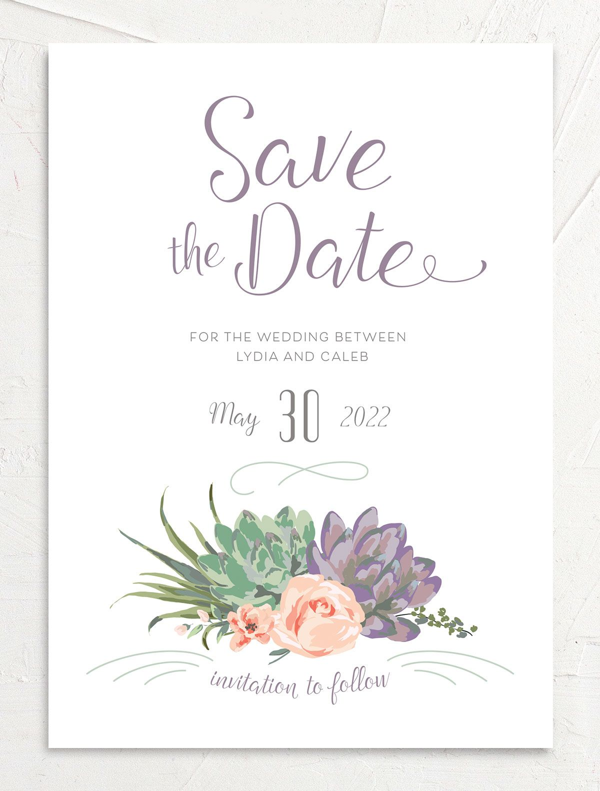 Romantic Succulents save the date front purple