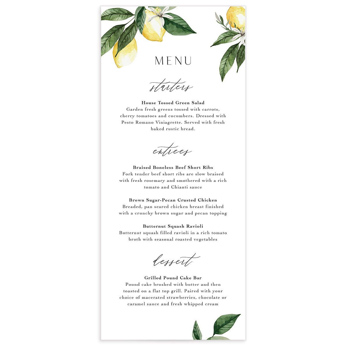 Botanical Lemon Menu Card front