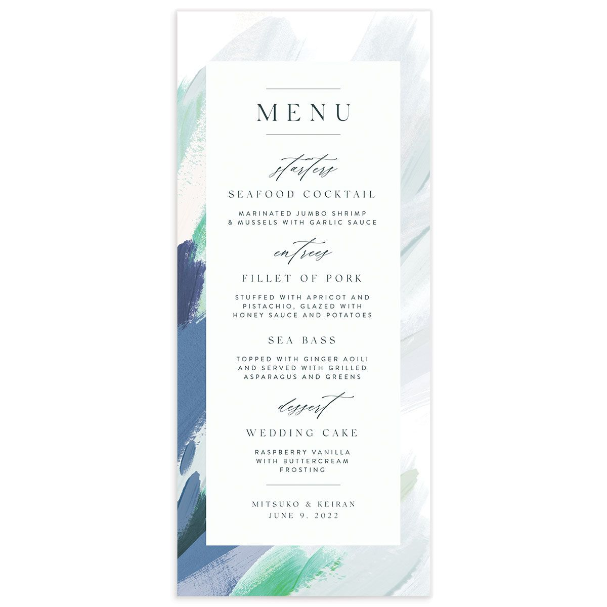 Floral Abstract Menu front blue