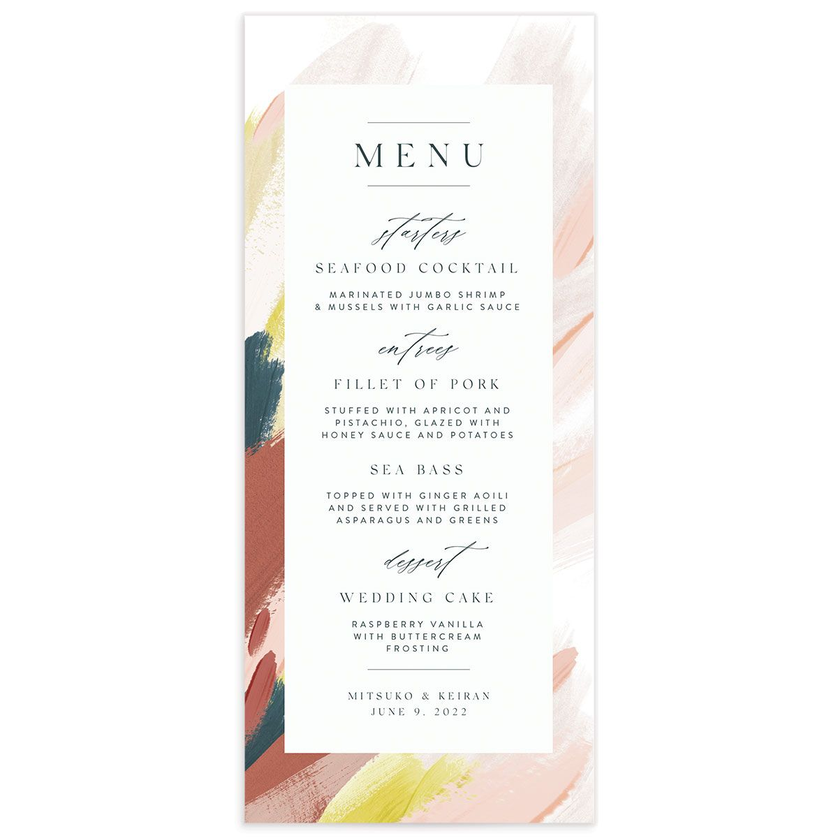 Floral Abstract Menu front pink