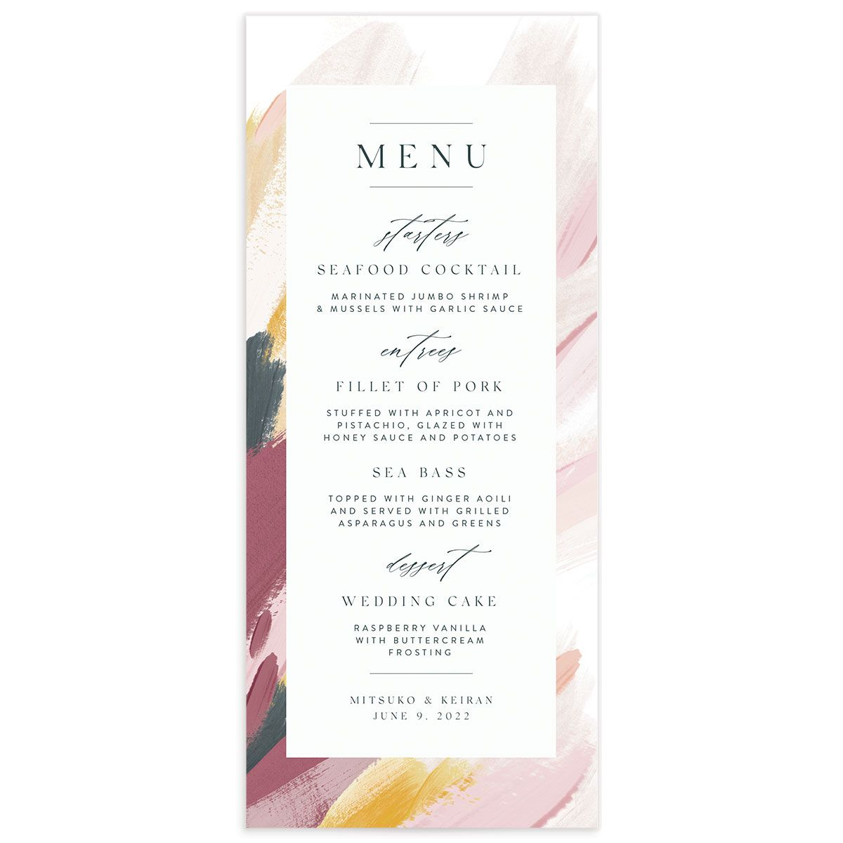 Floral Abstract Menu front purple