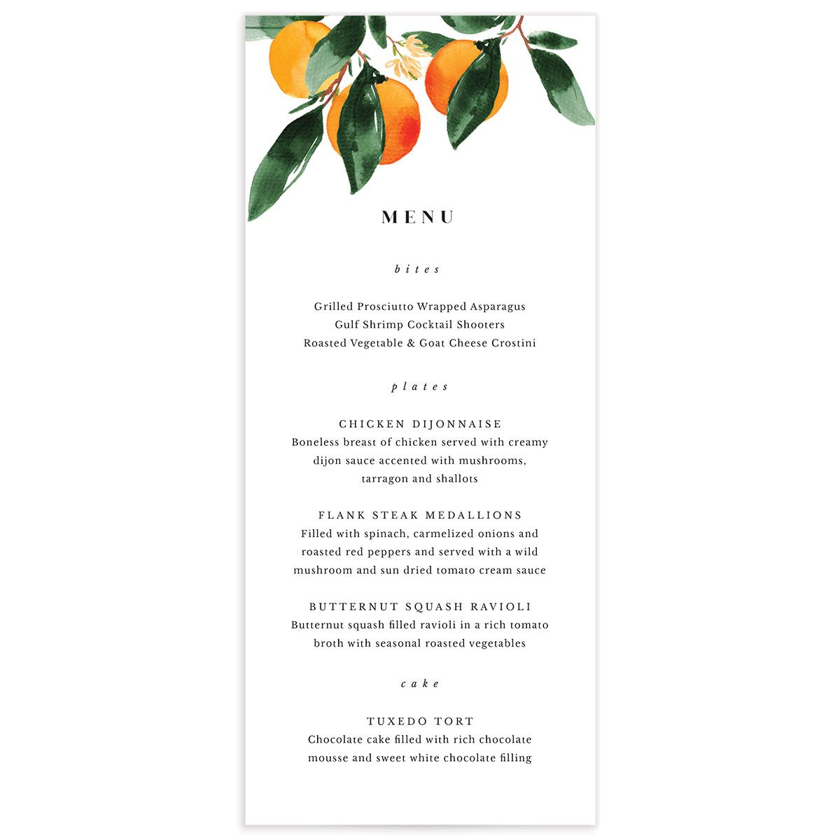 Orange Citrus Menu front