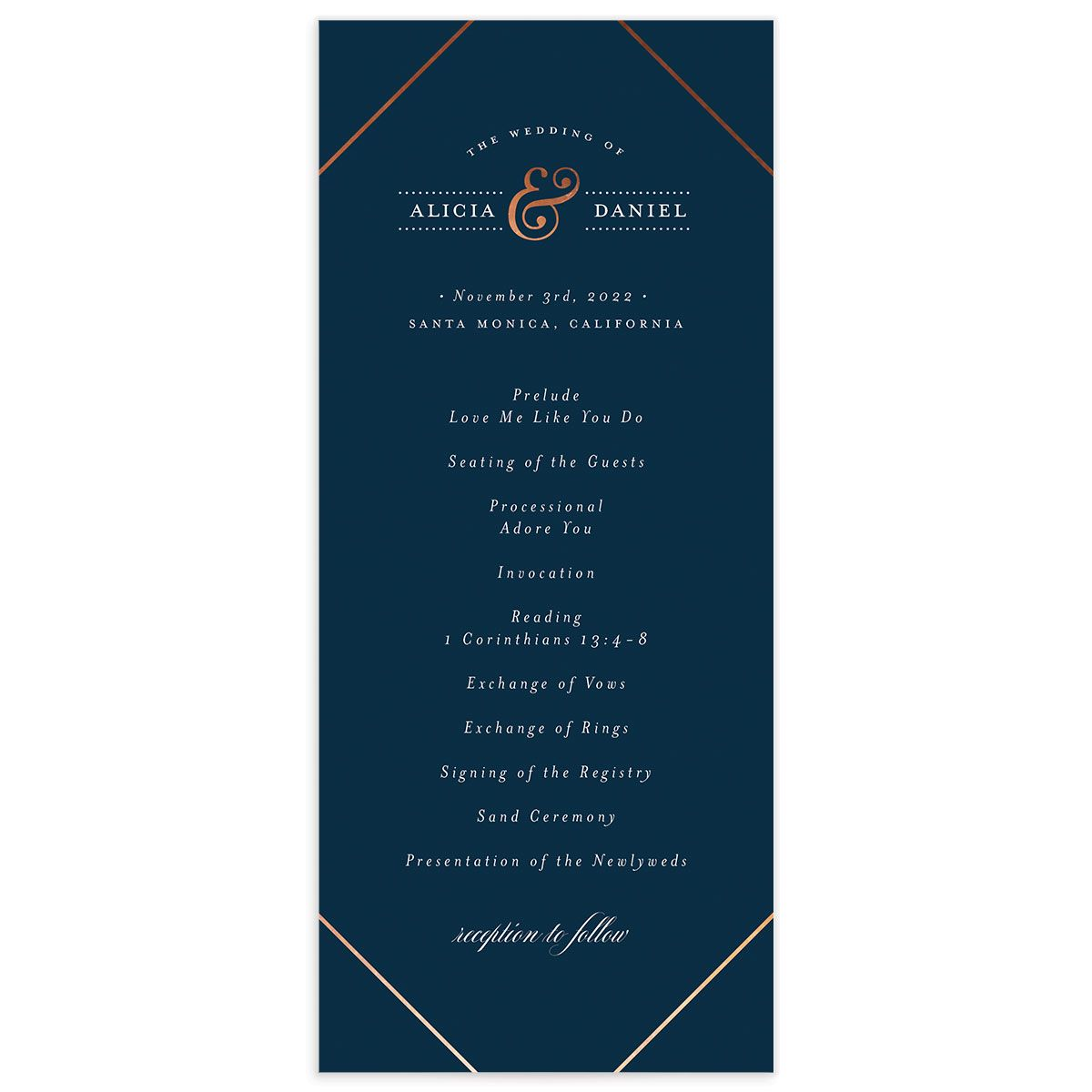 Formal Ampersand Wedding Program Card front blue