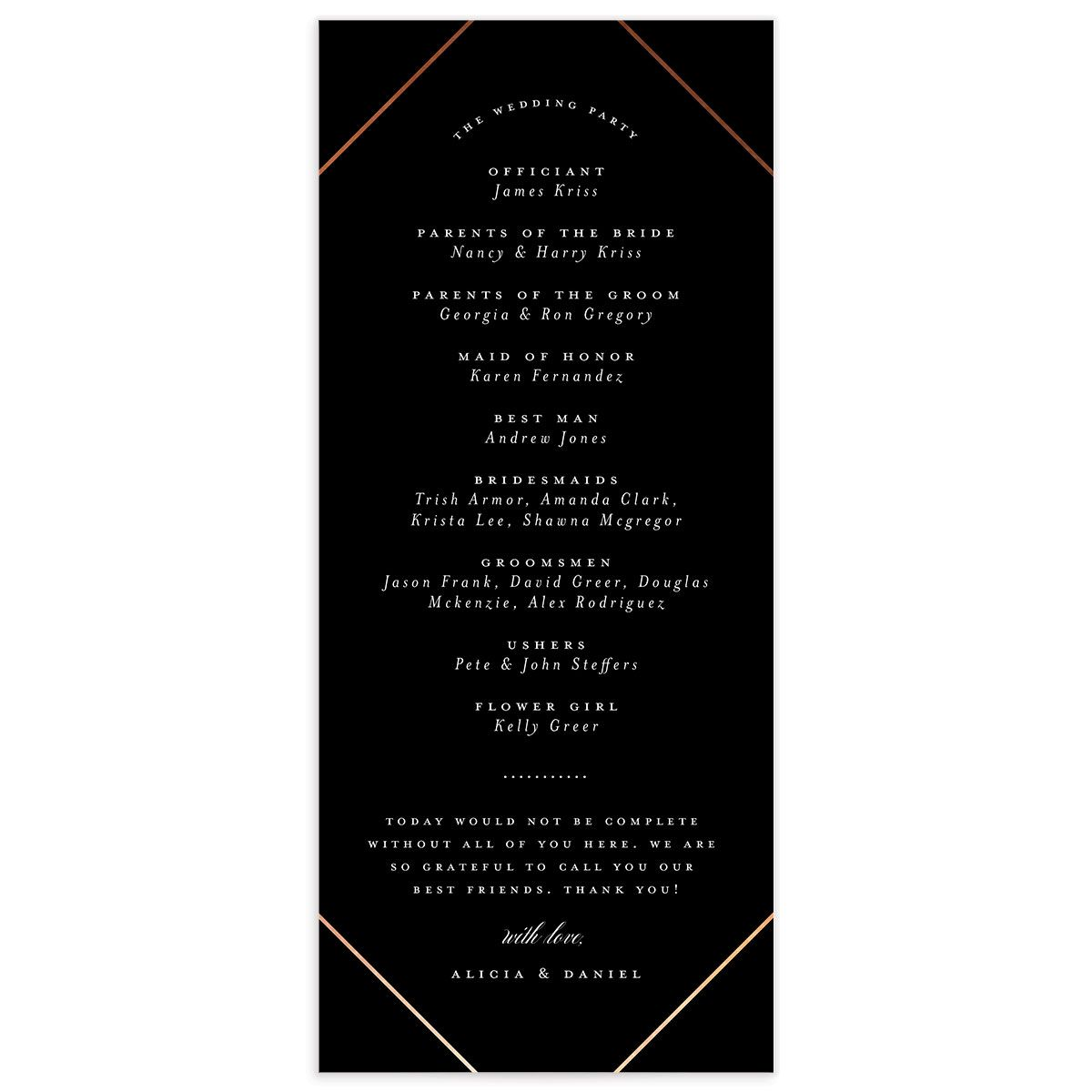 Formal Ampersand Wedding Program Card back black