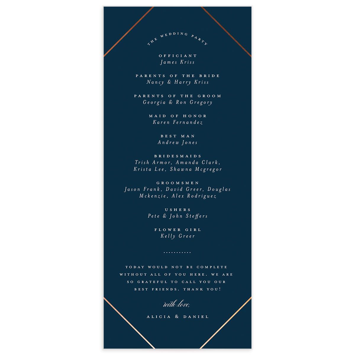 Formal Ampersand Wedding Program Card blue black