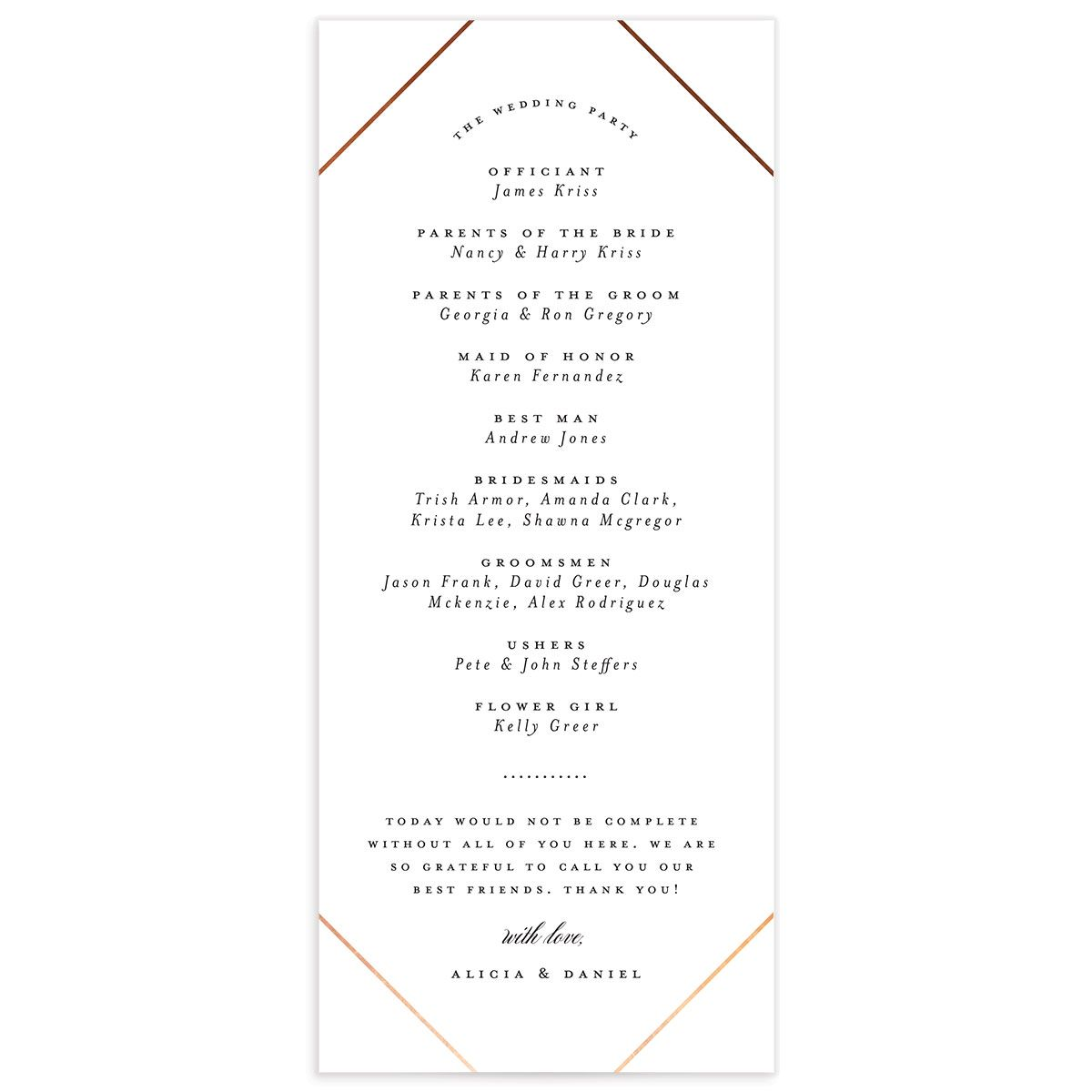 Formal Ampersand Wedding Program Card white black