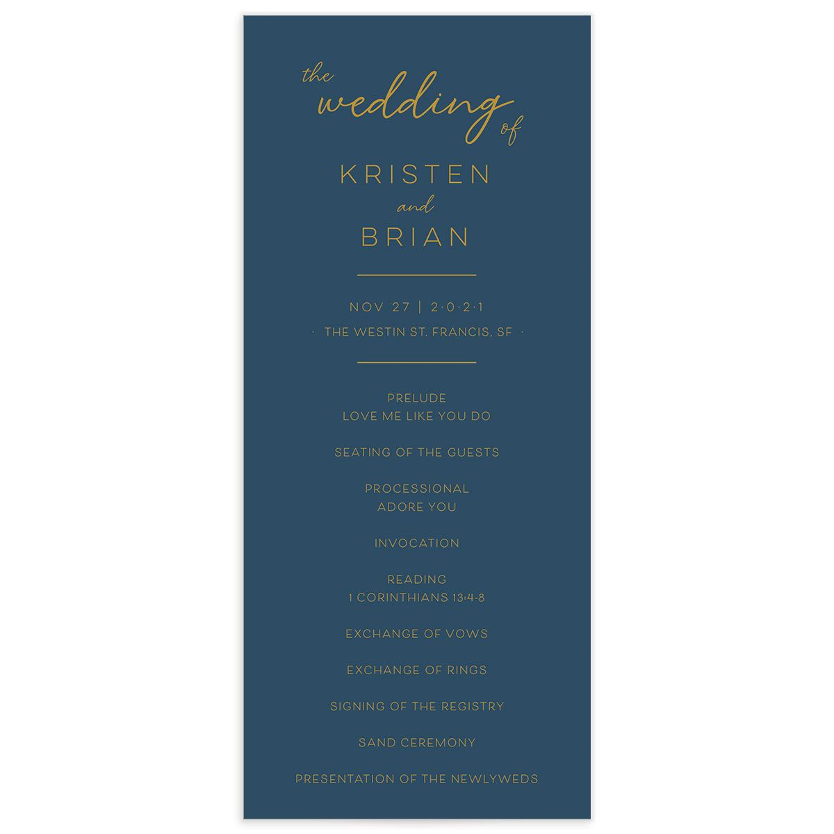Gold Calligraphy Wedding Program Card front blue