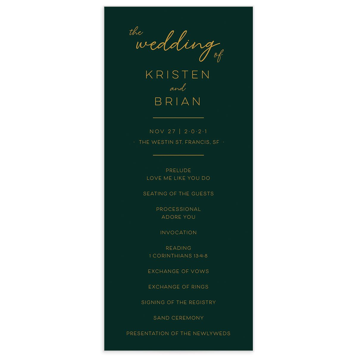 Gold Calligraphy Wedding Program Card front green