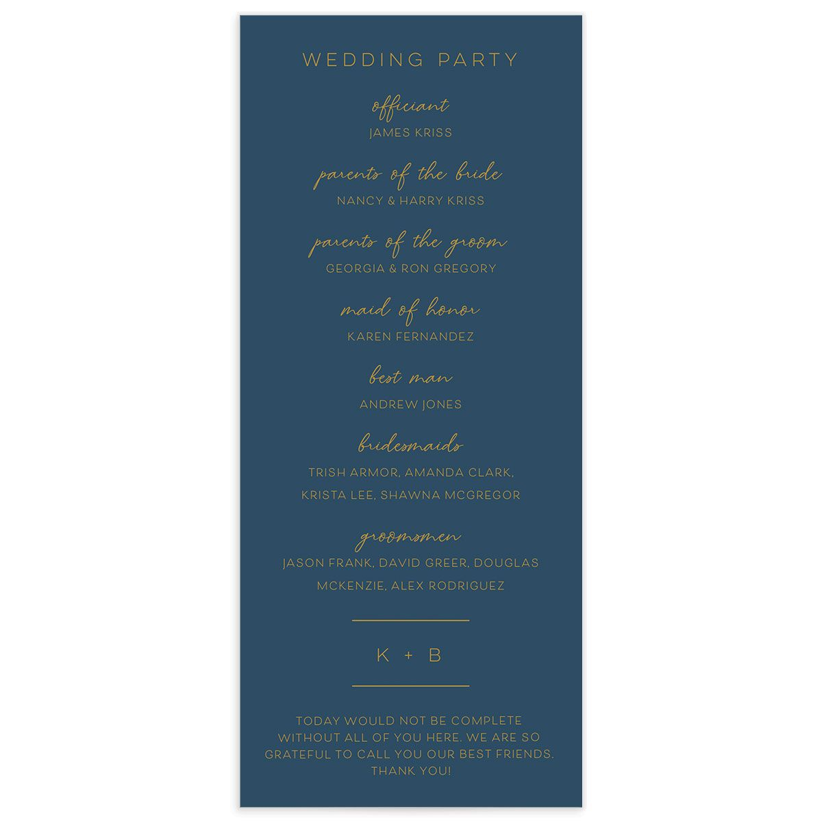 Gold Calligraphy Wedding Program Card back blue
