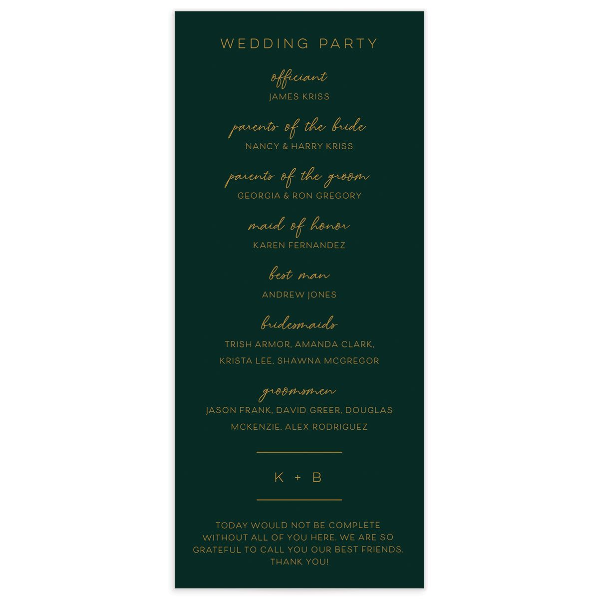 Gold Calligraphy Wedding Program Card back green