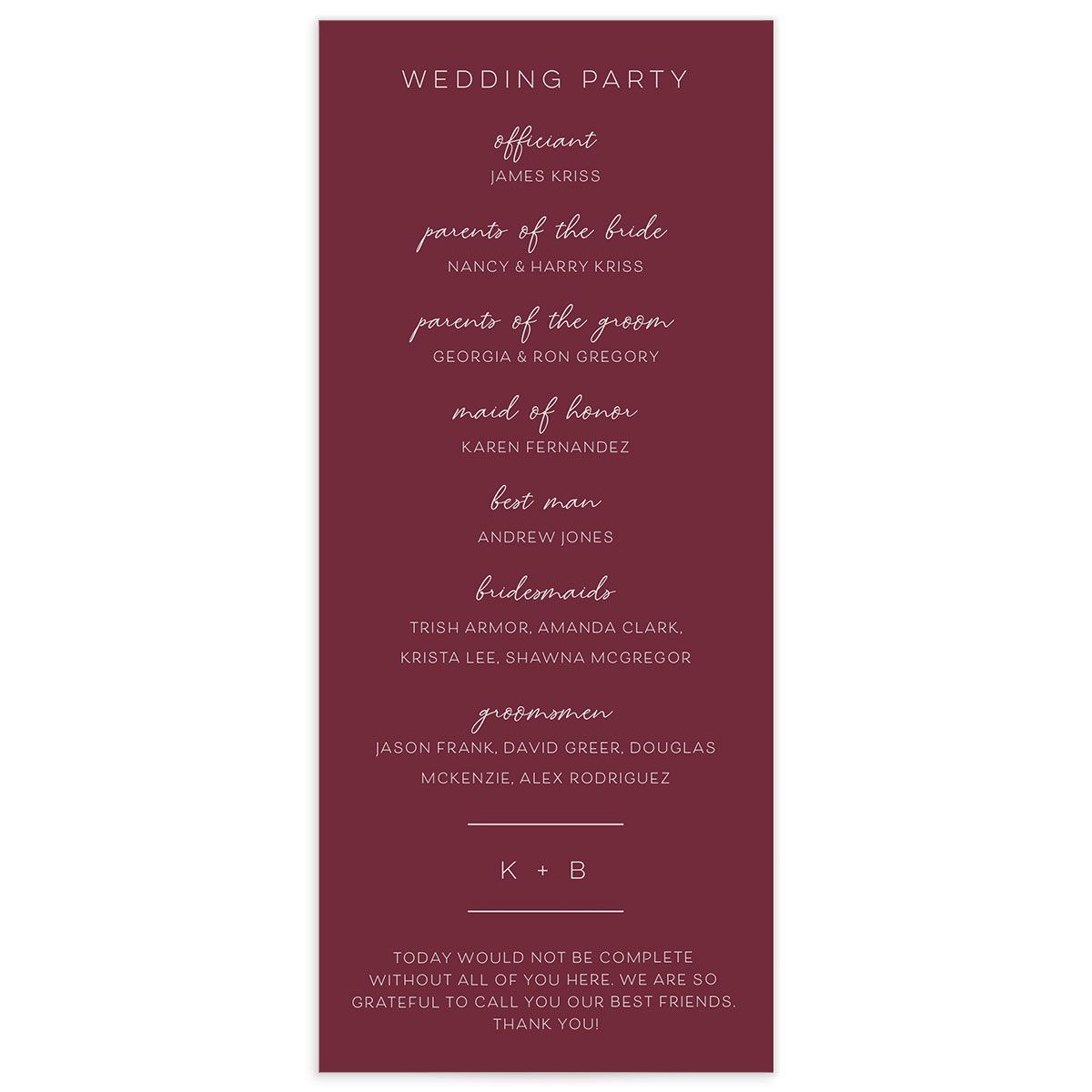 Gold Calligraphy Wedding Program Card back red