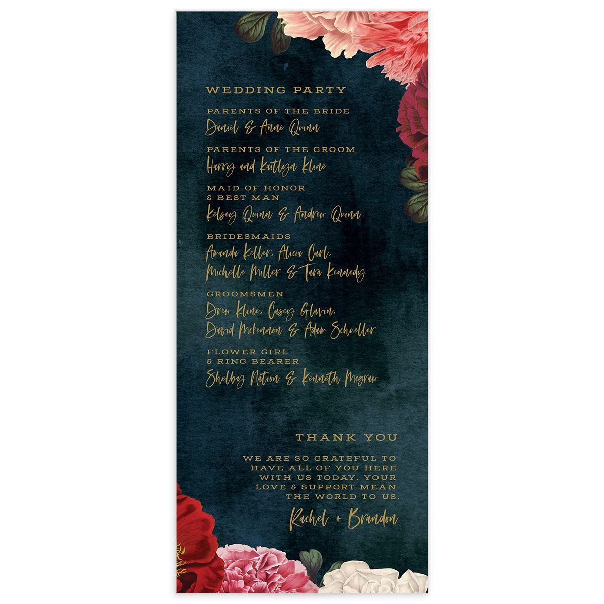 Midnight Peony Wedding Program back
