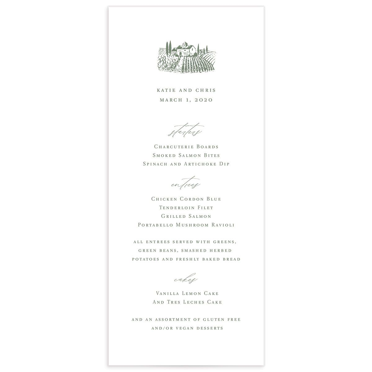 Classic Landscape Wedding Menu Card front green