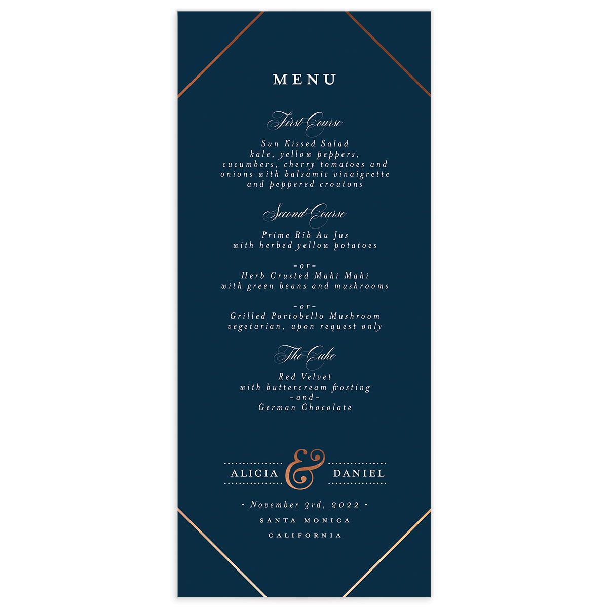 Formal Ampersand Wedding Menu Card front blue