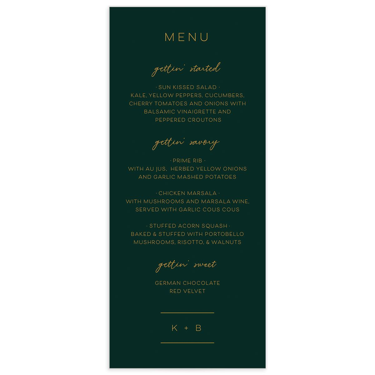 Gold Calligraphy Menu Card front green