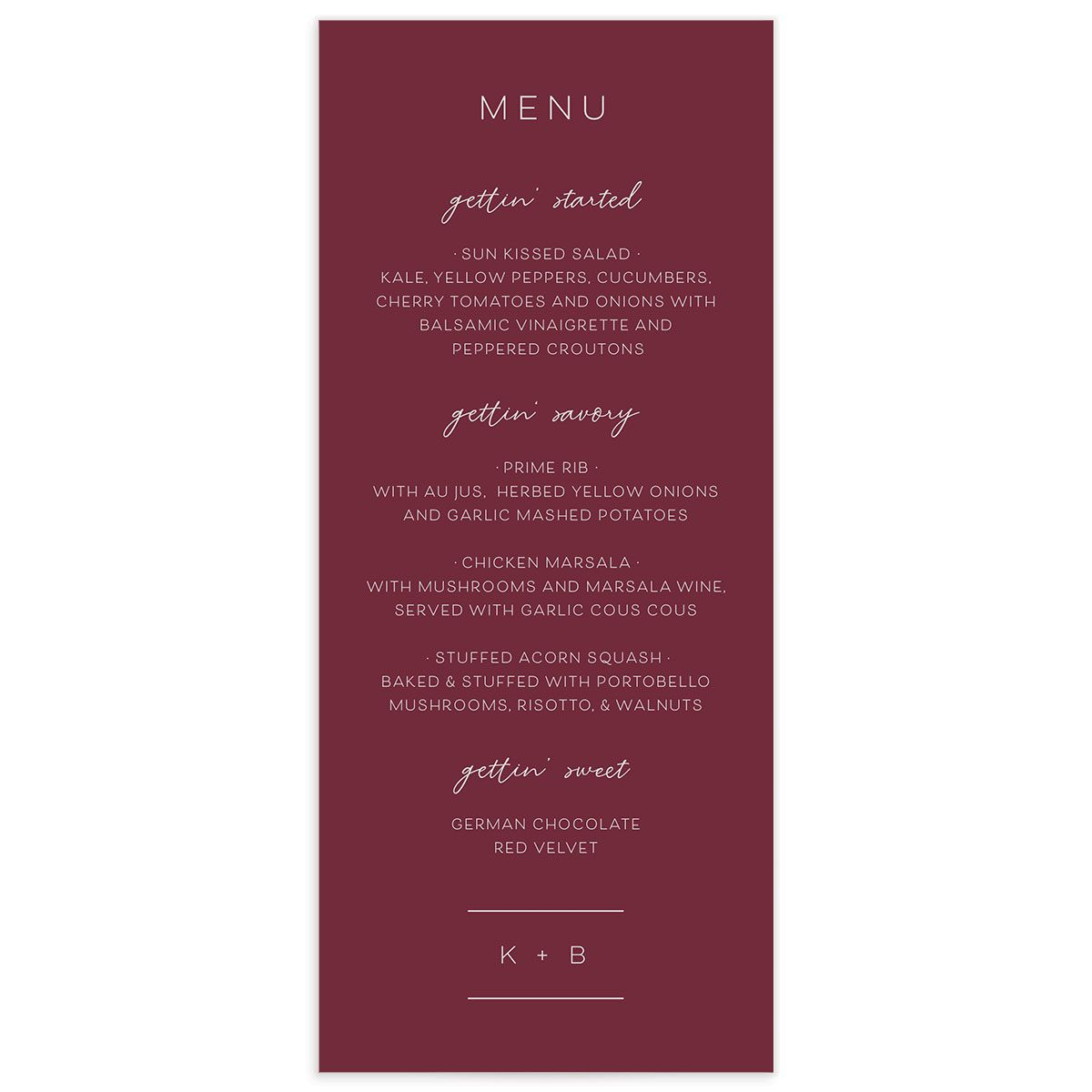 Gold Calligraphy Menu Card front red
