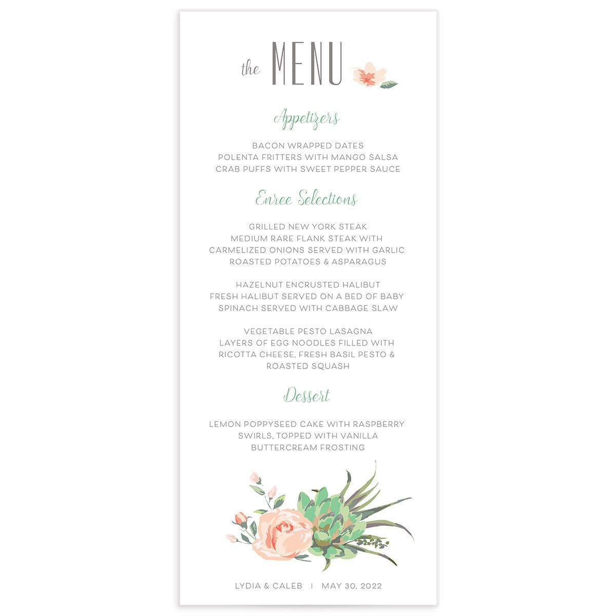 Romantic Succulents wedding menu front green